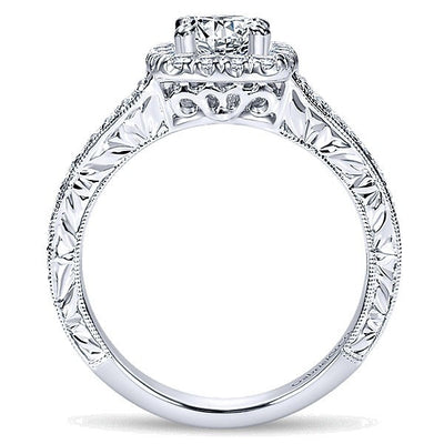 DIAMOND ENGAGEMENT RINGS - 14k White Gold Double Row Cushion Cut Halo Diamond Engagement Ring