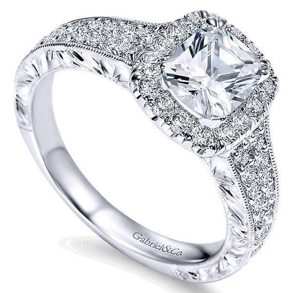 433ac7efa4a 14k White Gold Double Row Cushion Cut Halo Diamond Engagement Ring