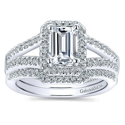DIAMOND ENGAGEMENT RINGS - 14K White Gold Emerald Cut Halo Split Shank Diamond Engagement Ring