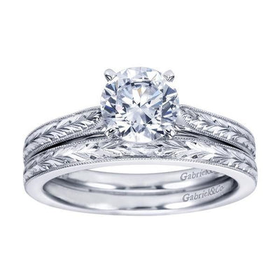 DIAMOND ENGAGEMENT RINGS - 14K White Gold Engraved Solitaire Round Diamond Engagement Ring