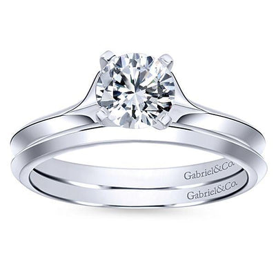 DIAMOND ENGAGEMENT RINGS - 14K White Gold Flared Split Shank Solitaire Diamond Engagement Ring
