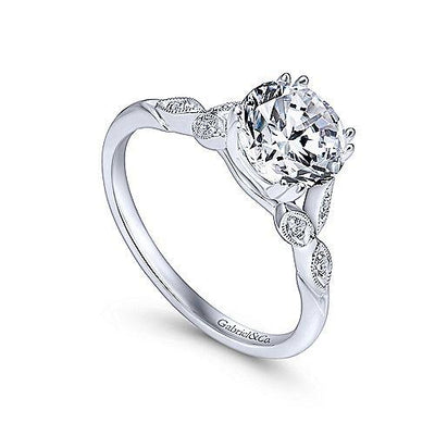 14K White Gold Floral Style Round Diamond Engagement Ring
