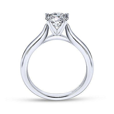 14k White Gold Half Round Band Cathedral Solitaire Engagement Ring