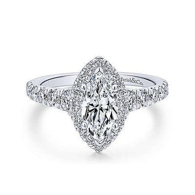 14K White Gold Marquise Shaped Halo Diamond Engagement Ring