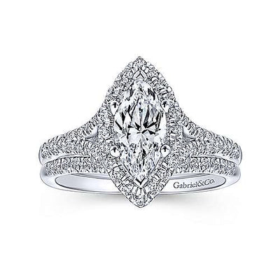 14K White Gold Marquise Shaped Halo Split Shank Diamond Engagement Ring