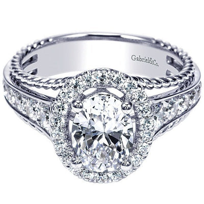 d13439f9d7ce6 14K White Gold Oval Halo Diamond Engagement Ring with Rope Detail