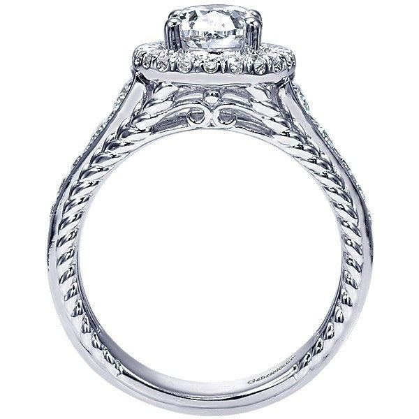 14k White Gold Oval Halo Diamond Engagement Ring With Rope