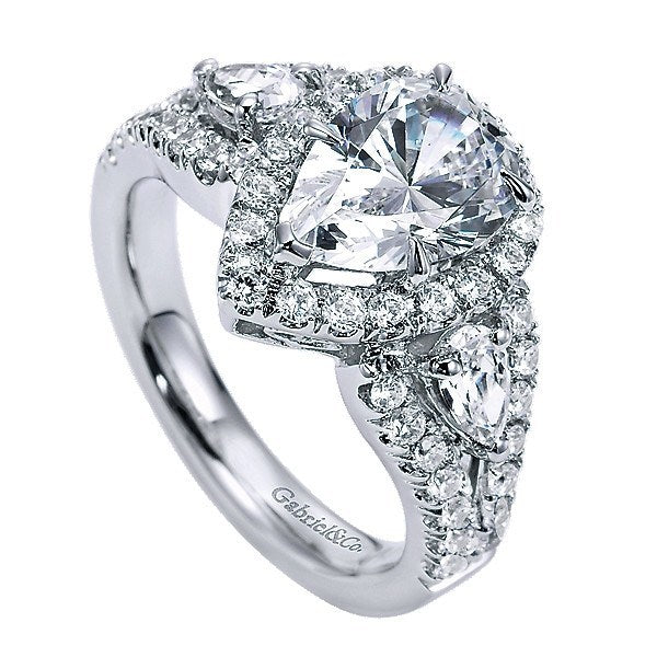 14k White Gold Pear Shaped 3 Stone Halo Diamond Engagement