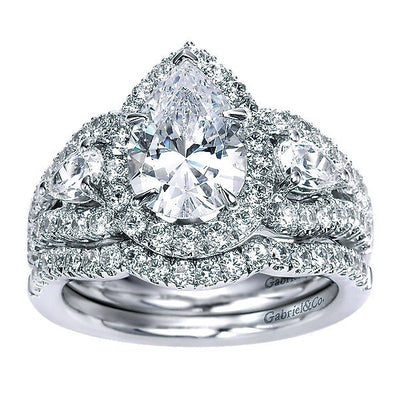 DIAMOND ENGAGEMENT RINGS - 14K White Gold Pear Shaped 3-Stone Halo Diamond Engagement Ring