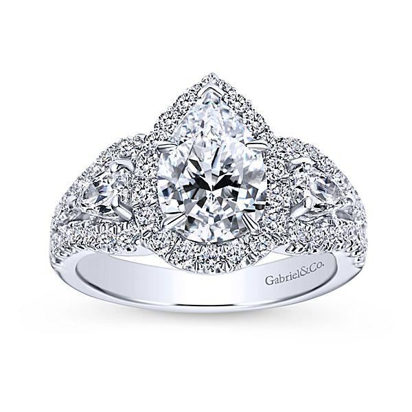 14k White Gold Pear Shaped 3 Stone Halo Diamond Engagement Ring Mullen Jewelers