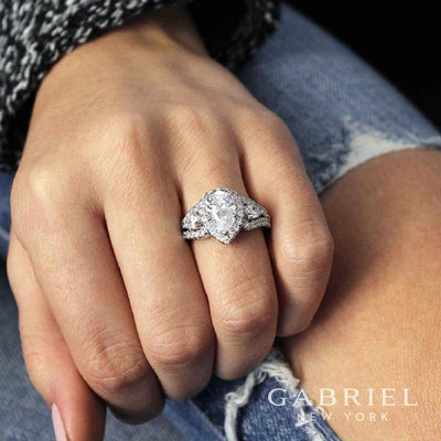 DIAMOND ENGAGEMENT RINGS - 14K White Gold Pear Shaped 3-Stone Halo Diamond Engagement Ring (Part 1 Of 3)