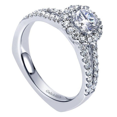 DIAMOND ENGAGEMENT RINGS - 14K White Gold Round Split Shank Diamond Halo Engagement Ring