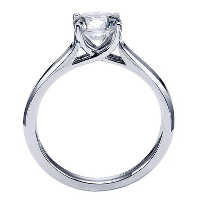 DIAMOND ENGAGEMENT RINGS - 14k White Gold Solitaire Round Diamond Cathedral Engagement Ring Mounting