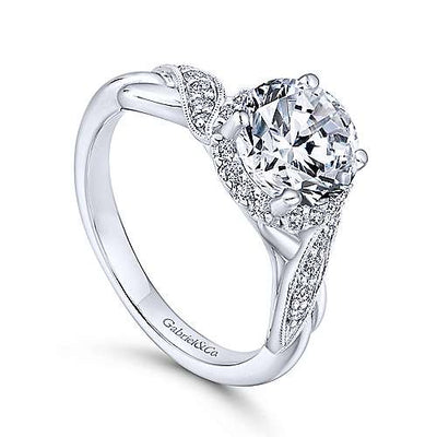 14K White Gold Twisted Round Moissanite and Diamond Engagement Ring and Wedding Band Set