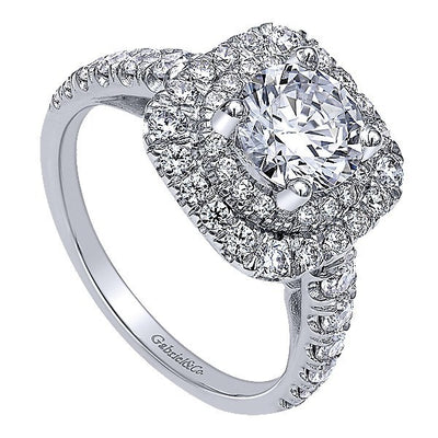 DIAMOND ENGAGEMENT RINGS - 14K White Gold Two Tier Double Halo Round Diamond Engagement Ring