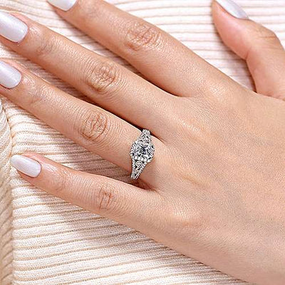 14K White Gold Vintage Inspired Emerald Cut Halo Diamond Engagement Ring