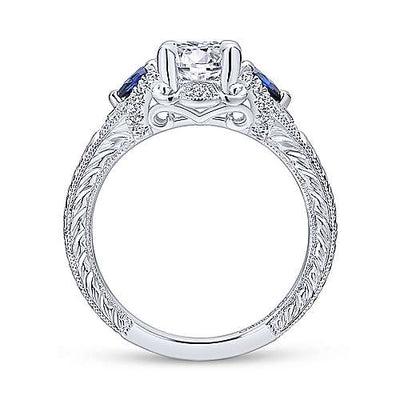 14K White Gold Vintage Inspired Round Diamond Engagement Ring with Sapphire Accents