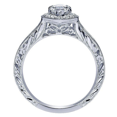 DIAMOND ENGAGEMENT RINGS - 14K White Marquise Halo Diamond Engagement Ring With Engraved Shank