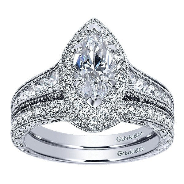14K White Marquise Halo Diamond Engagement Ring with Engraved