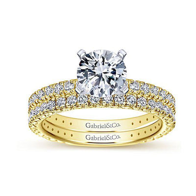 DIAMOND ENGAGEMENT RINGS - 14K Yellow Gold 1.40cttw Pave Diamond Engagement Ring