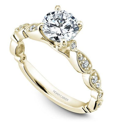 14K Yellow Gold Pear Shaped Station Round Diamond Engagement Ring