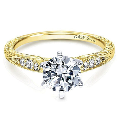 14K Yellow Gold Vintage Style Engraved 2/3cttw Round Diamond Engagement Ring
