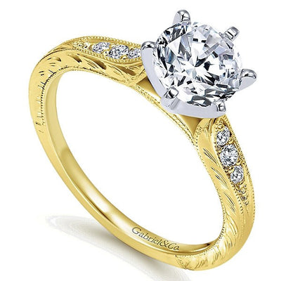 DIAMOND ENGAGEMENT RINGS - 14K Yellow Gold Vintage Style Engraved 2/3cttw Round Diamond Engagement Ring