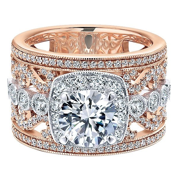 18K Rose And White Gold Stacked Multi Band Vintage Diamond Engagement
