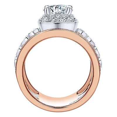 DIAMOND ENGAGEMENT RINGS   18K Rose And White Gold Stacked Multi Band Vintage  Diamond Engagement