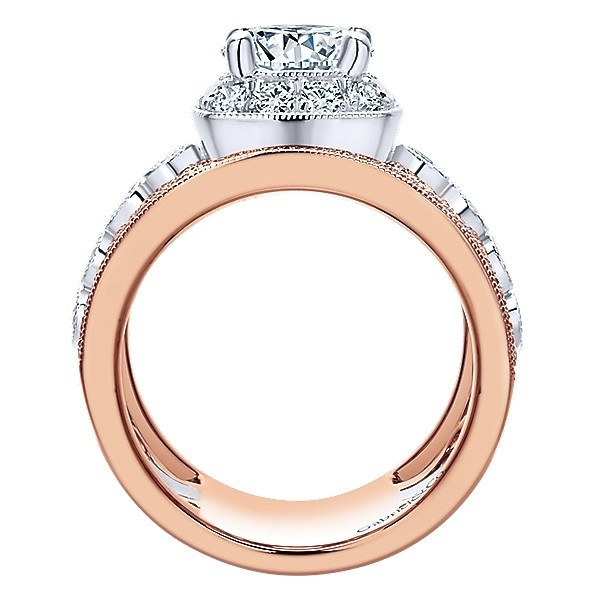18K Rose And White Gold Stacked Multi-Band Vintage Diamond Engagement - Mullen Jewelers