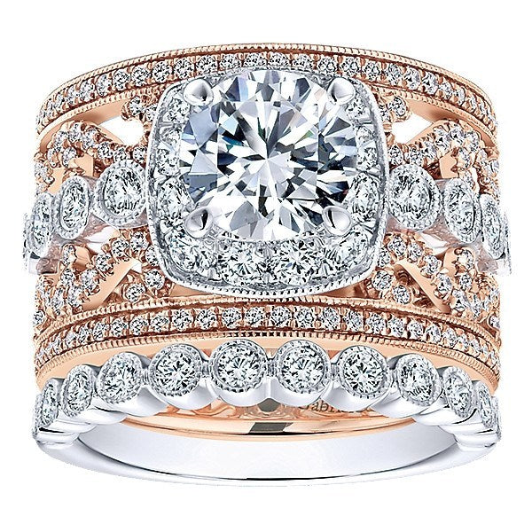 de34cc9fbb785 18K Rose and White Gold Stacked Multi-Band Vintage Diamond Engagement Ring
