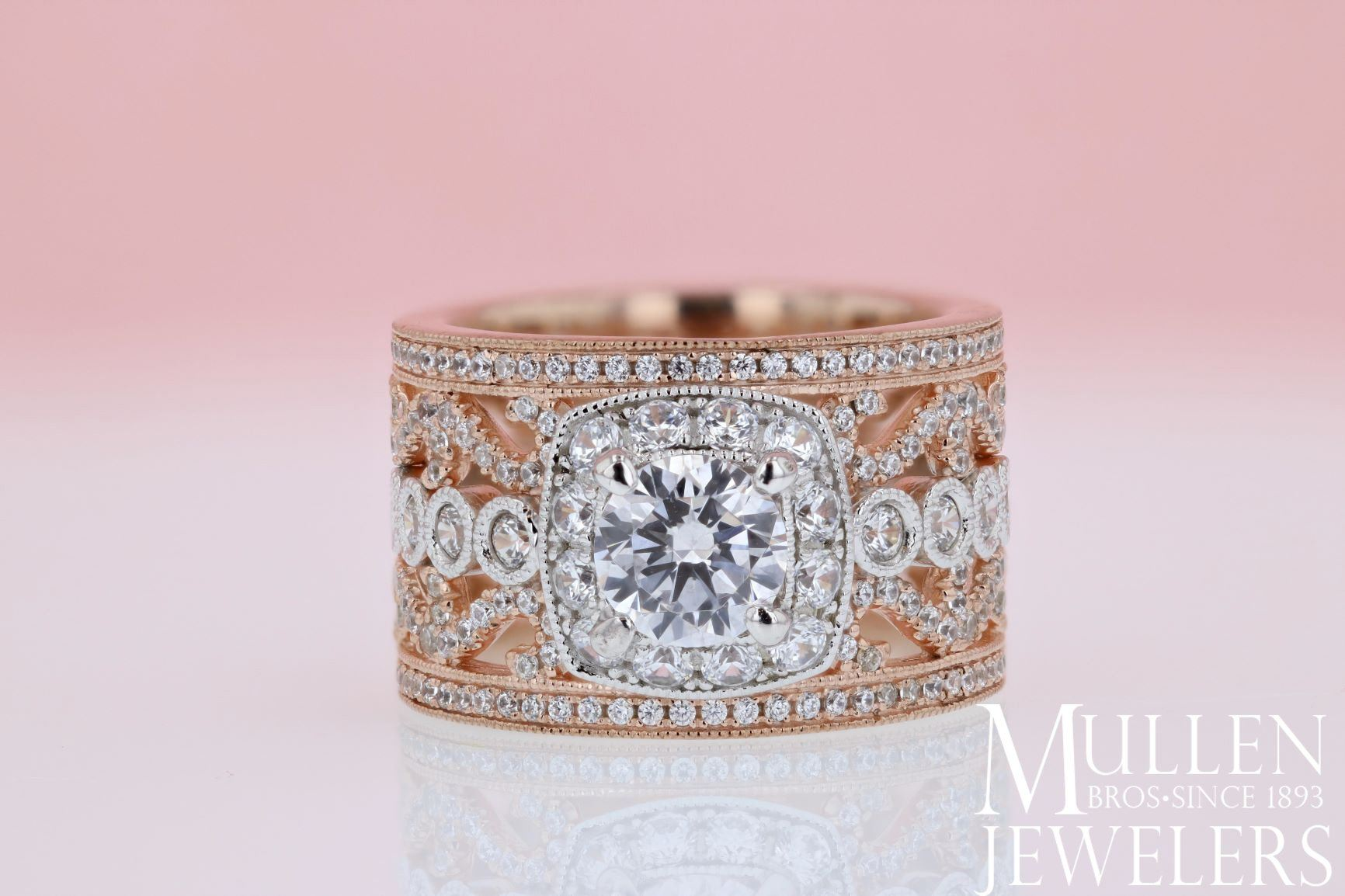 18K Rose and White Gold Stacked Multi,Band Vintage Diamond Engagement Ring