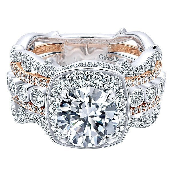 34baac6d4cc DIAMOND ENGAGEMENT RINGS - 18K Rose And White Gold Stacked Vintage 5-Band  Style Diamond