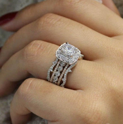 18K Rose and White Gold Stacked Vintage 5,Band Style Diamond Engagement Ring