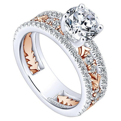 DIAMOND ENGAGEMENT RINGS - 18K Rose And White Gold Stacked Vintage Style Diamond Engagement Ring