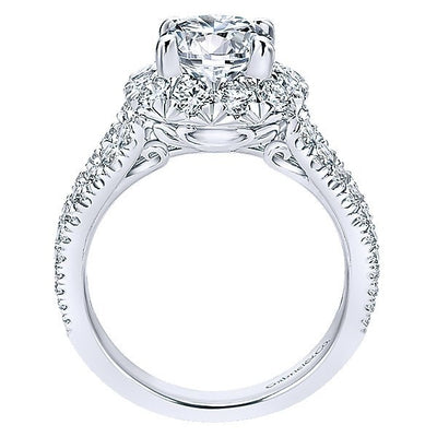 DIAMOND ENGAGEMENT RINGS - 18K Rose And White Gold Triple Shank Style Halo Diamond Engagement Ring