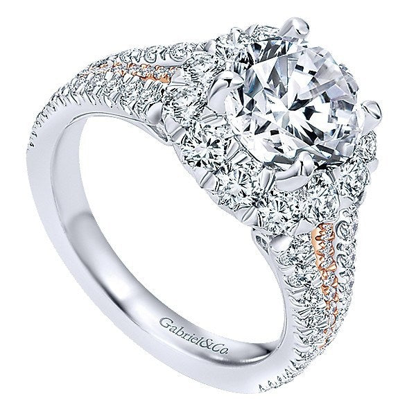 db2803df1207b DIAMOND ENGAGEMENT RINGS - 18K Rose And White Gold Triple Shank Style Halo Diamond  Engagement Ring