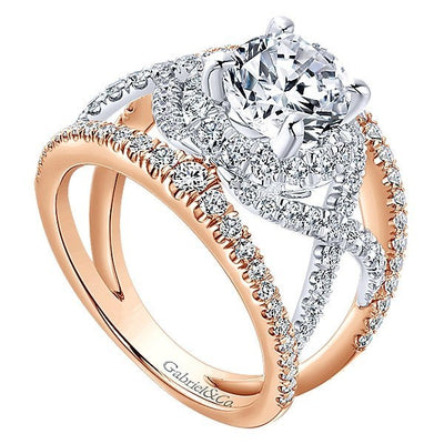 DIAMOND ENGAGEMENT RINGS - 18K Rose And White Gold Woven Multi-Shank Style Diamond Engagement Ring