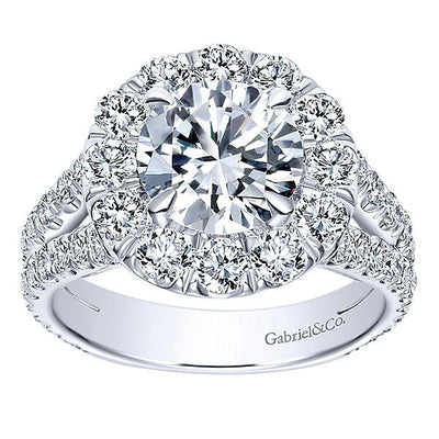 DIAMOND ENGAGEMENT RINGS - 18K White Gold 2cttw Split Shank Halo Diamond Engagement Ring