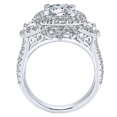 DIAMOND ENGAGEMENT RINGS - 18K White Gold Cushion Shaped Double Halo Diamond Engagement Ring