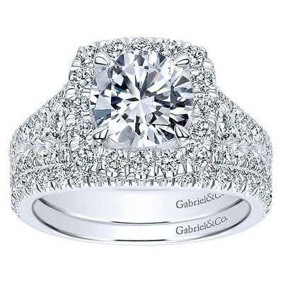 DIAMOND ENGAGEMENT RINGS - 18K White Gold Filled Split Shank Diamond Engagement Ring With Cushion Halo