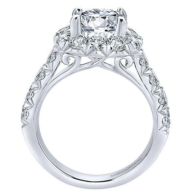 DIAMOND ENGAGEMENT RINGS - 18K White Gold French Pave Large Halo Diamond Engagement Ring