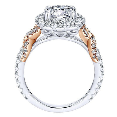 DIAMOND ENGAGEMENT RINGS - 18K White Gold Halo Diamond Engagement Ring With Criss-Cross Design