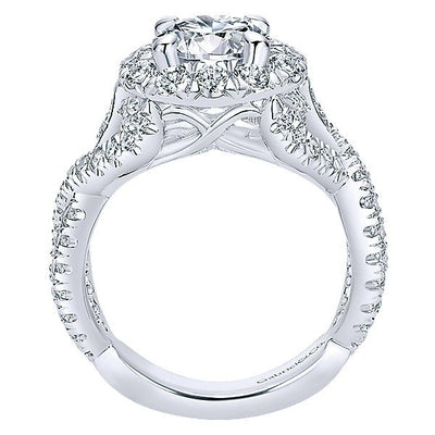 DIAMOND ENGAGEMENT RINGS - 18K White Gold Interlaced Split Shank Style Halo Diamond Engagement Ring