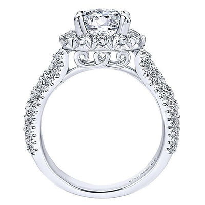 DIAMOND ENGAGEMENT RINGS - 18K White Gold Pave Multi-Row Halo Diamond Engagement Ring
