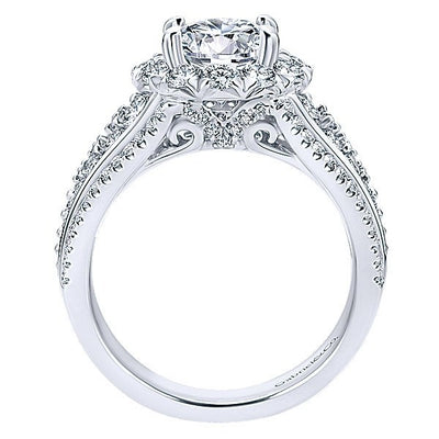 DIAMOND ENGAGEMENT RINGS - 18K White Gold Reverse Taper Multi Row Pave Halo Diamond Engagement Ring