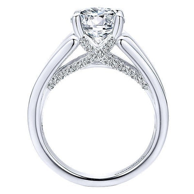DIAMOND ENGAGEMENT RINGS - 18K White Gold Reverse Taper Pave Set Diamond Engagement Ring