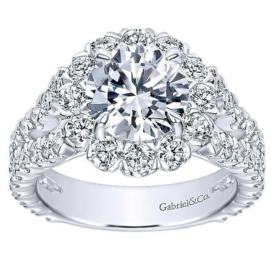 DIAMOND ENGAGEMENT RINGS - 18K White Gold Split Shank Floral Halo Diamond Engagement Ring