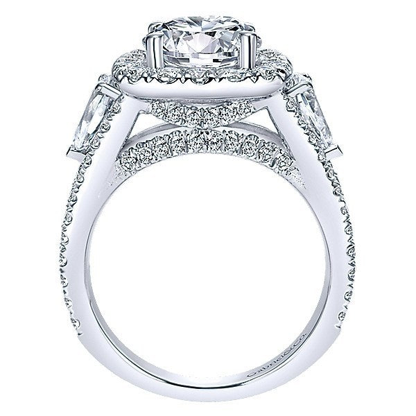 e43078a954271 18K White Gold Split Shank Halo Diamond Engagement Ring with Pear Shaped  Sides
