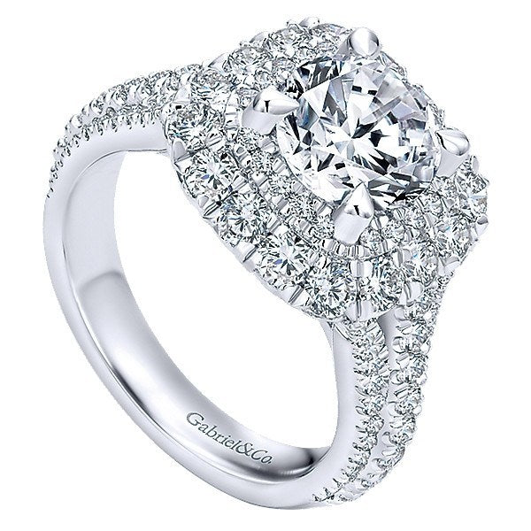b8766a3a3efe5 18K White Gold Triple Shank Double Halo Diamond Engagement Ring